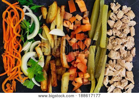 Ingredients For Shawarma Sandwich On Dark Background. Top View