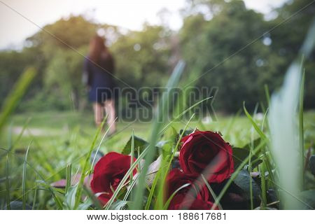 A woman turn back and walk away from red color roses flower on green grass field with nature background