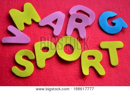 word sport on a  abstract colorful background