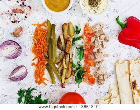 Ingredients For Shawarma Sandwich On White Background. Top View