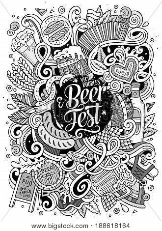 Cartoon cute doodles hand drawn Oktoberfest illustration. Line art detailed, with lots of objects background. Funny vector artwork. Sketched picture with Beer fest theme items.