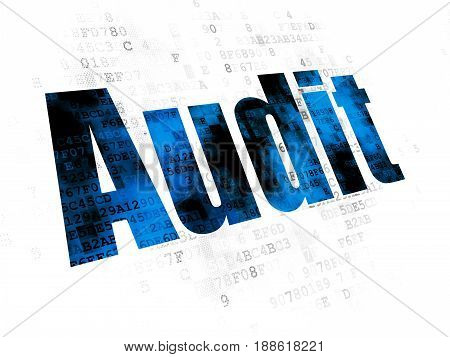 Business concept: Pixelated blue text Audit on Digital background