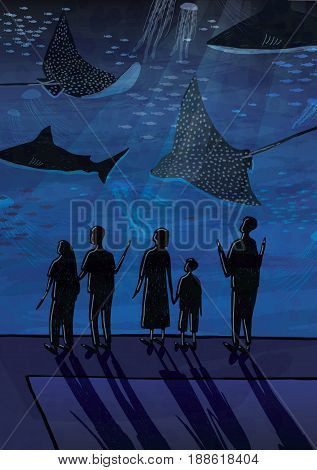 People in oceanarium. Couples, people with children watching fish, sharks, marine animals. Hand drawn colorful illustration