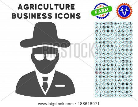 Agent gray icon with agriculture business icon clipart. Vector illustration style is a flat iconic symbol. Agriculture icons are rounded with blue circles. Designed for web and software interfaces.