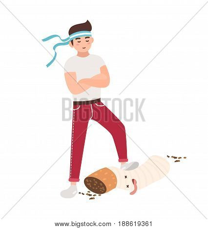 Concept of fight against smoking. Young guy tramples a cigarette. Colorful vector illustration in flat cartoon style