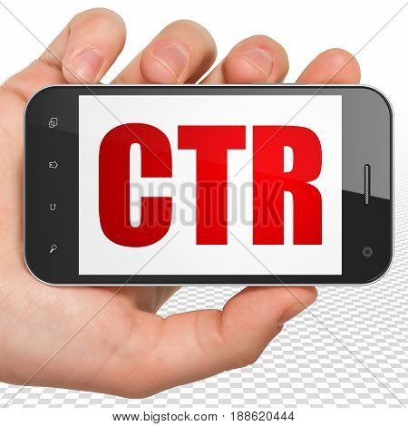 Finance concept: Hand Holding Smartphone with red text CTR on display, 3D rendering