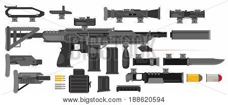 Futuristic Sci-Fi weapon flat set. Vector illustration