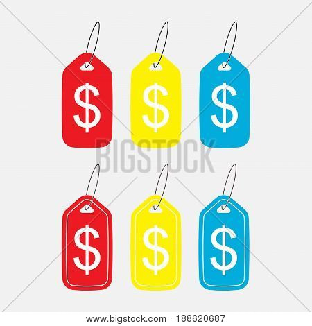 set icons with a sign Dolar price emblemka fully editable vector image