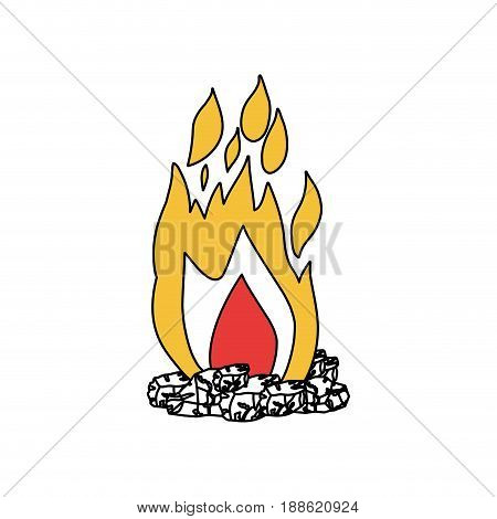 silhouette color section of flame with wood vector illustration