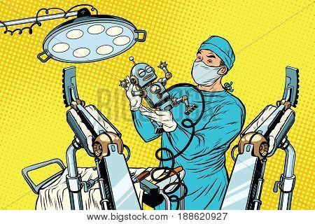 birth newborn robot, an obstetrician in the operating room. Medicine and health care. Progress and civilization. Pop art retro vector illustration