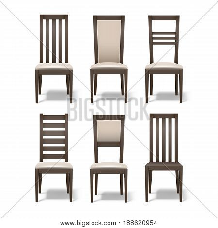 Vector set of different brown wooden room chairs with soft beige upholstery isolated on white background
