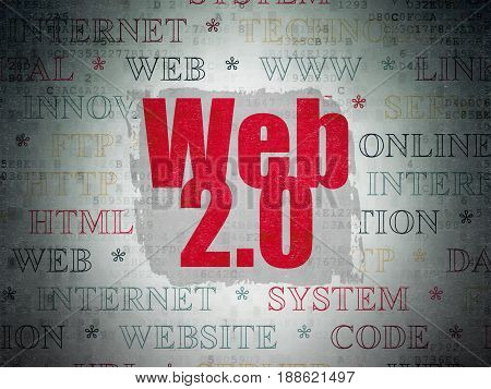 Web development concept: Painted red text Web 2.0 on Digital Data Paper background with   Tag Cloud