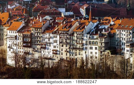 Old Buildings Of Medieval City Fribourg, Switzerland, Aerial View
