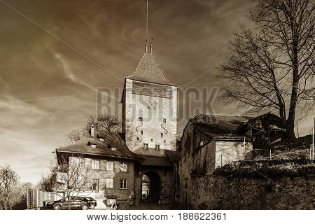 Old Medieval Tower With City Gates In Fribourg, Switzerland