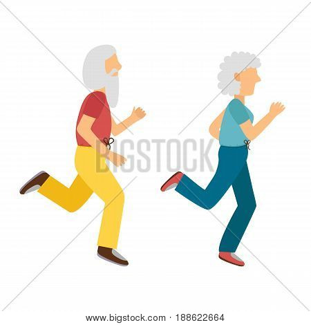 Vector Cartoon Active Old Woman And Man