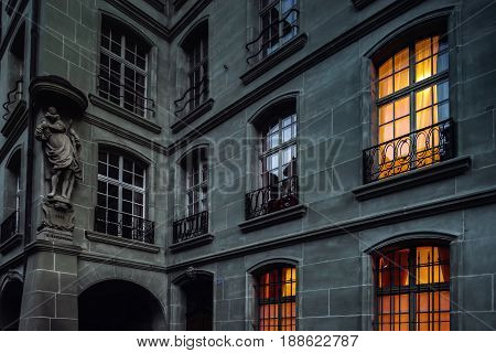 Old House With Highlighted Yellow Windows, Night View