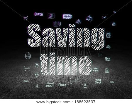Time concept: Glowing text Saving Time,  Hand Drawing Time Icons in grunge dark room with Dirty Floor, black background