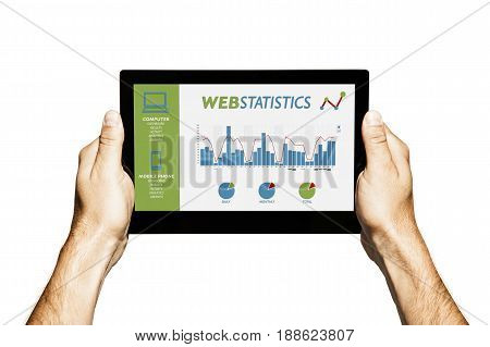 Web analysis and SEO in a tablet screen.