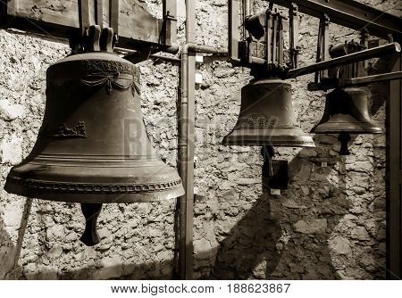 Old Metal Bells In The Clock Tower