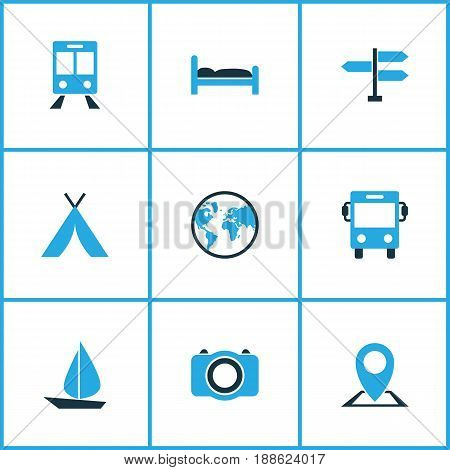 Journey Colorful Icons Set. Collection Of Map Pin, Tent, Train And Other Elements. Also Includes Symbols Such As Transport, Tent, Map.