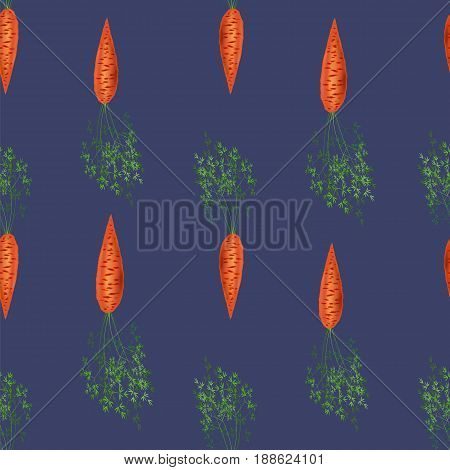 Red Fresh Carrot Seamless Pattern on Blue Background