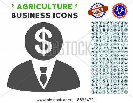 Banker gray icon with agriculture commercial pictogram pack. Vector illustration style is a flat iconic symbol. Agriculture icons are rounded with blue circles.