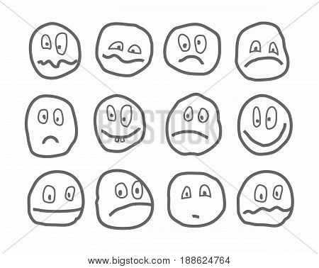 Memes, emotions, vector icons, round.  Different emotions. Rough dark-grey figures on a white background. Drawn with a pen, simulation.