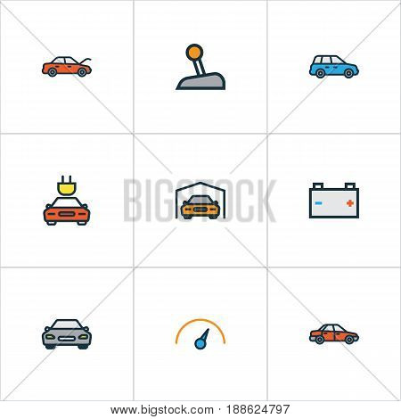 Car Colorful Outline Icons Set. Collection Of Electric, Sedan, Accumulator And Other Elements. Also Includes Symbols Such As Hood, Tesla, Automobile.