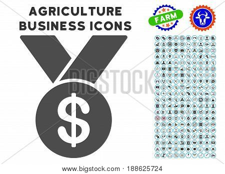 Bestseller gray icon with agriculture commercial icon set. Vector illustration style is a flat iconic symbol. Agriculture icons are rounded with blue circles. Designed for web and software interfaces.
