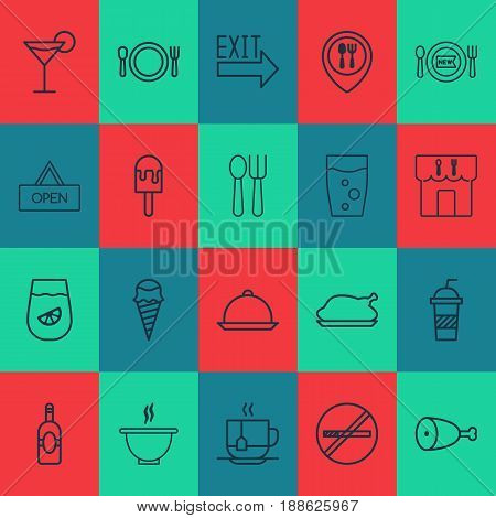 Meal Icons Set. Collection Of Cocktail, Chicken Fry, Hot Drink And Other Elements. Also Includes Symbols Such As Alcohol, Dining, Roast.