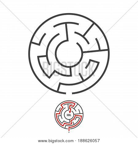 Illustration of Vector Maze Logo Isolated. Labyrinth Game Puzzle with Solution Concept