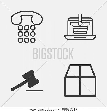 Ecommerce Icons Set. Collection Of Gavel, E-Trade, Cardboard And Other Elements. Also Includes Symbols Such As Hammer, Parcel, Online.