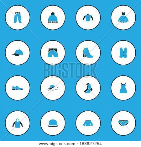 Garment Colorful Icons Set. Collection Of Trousers, Female Boots, Jacket And Other Elements. Also Includes Symbols Such As Jacket, Headgear, Underpants.