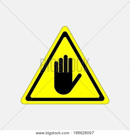 STOP no entry hand sign attention hand on a yellow background in the triangle fully editable vector image
