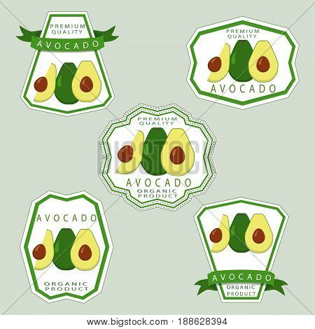 Abstract vector illustration logo for whole ripe vegetables avocado with green stem leaf cut sliced.Avocado drawing consisting of tag label bow peel fruits pip ripe sweet food.Eating fresh avocados.
