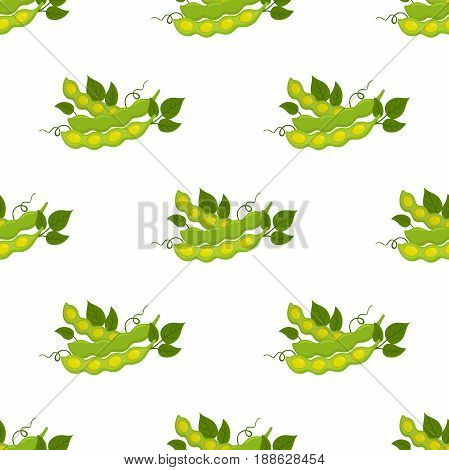 Seamless pattern of soybeans. Natural eco-friendly vegetarian nutrition. Cartoon flat style
