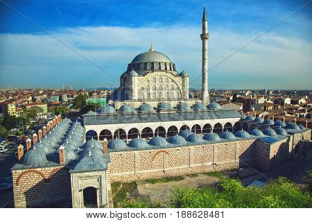 Mihrimah Sultan Mosque in Istanbul was built by Mimar Sinan. Top view