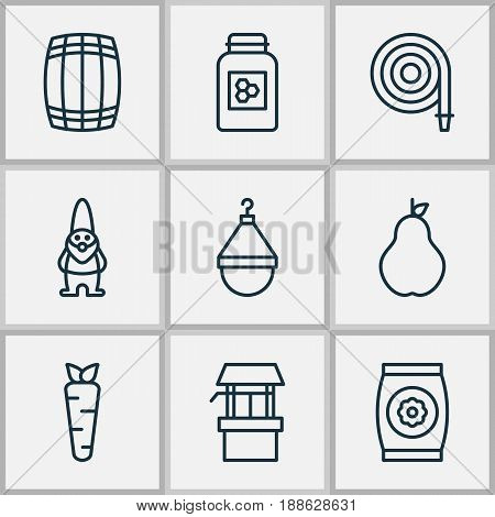 Gardening Icons Set. Collection Of Water Source, Jar, Dwarf And Other Elements. Also Includes Symbols Such As Jar, Vegetable, Seed.