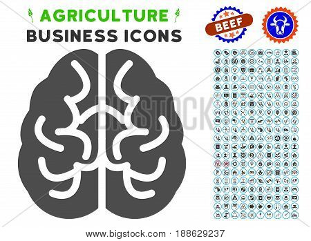 Brain gray icon with agriculture commercial icon collection. Vector illustration style is a flat iconic symbol. Agriculture icons are rounded with blue circles.