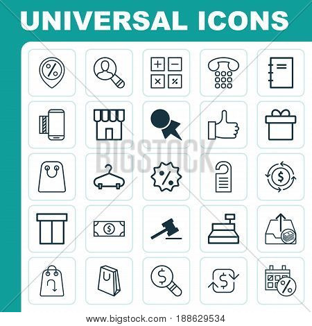 Ecommerce Icons Set. Collection Of Peg, Rebate Sign, Till And Other Elements. Also Includes Symbols Such As Present, Payment, Dollar.