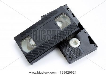 vhs tapes isolated on white background closeup