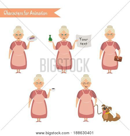 Grandmother housewife character for scenes. Funny Grandmother housewife cartoon.