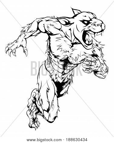A panther man character or sports mascot charging, sprinting or running
