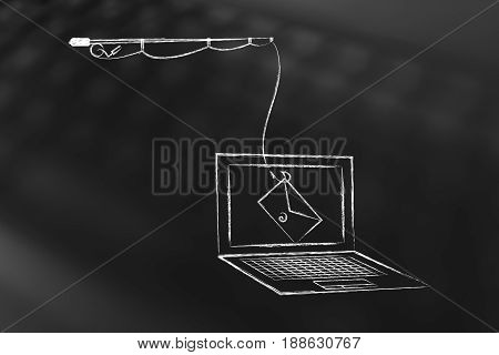 Phishing Threat On Laptop Screen, Fishing Rod With Email Instead Of Bait