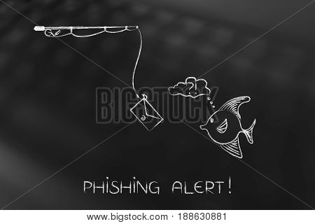 Fishing Rod With Email Bait Approaching Doubtful Fish, Phishing Concept