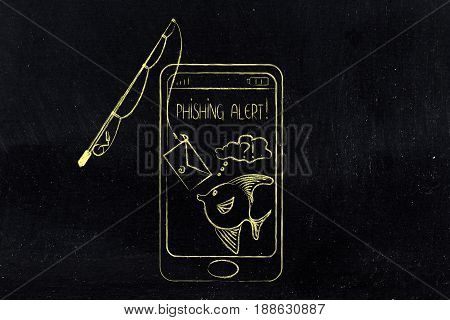 Fishing Rod Approaching Smartphone Screen With Doubtful Fish Inside, Phishing Concept