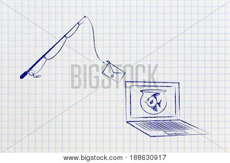 Fishing Rod With Email Bait  Approaching A Fish On Laptop Screen, Phishing Concept