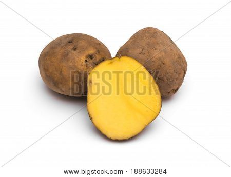 Potatoes on a white background, close up
