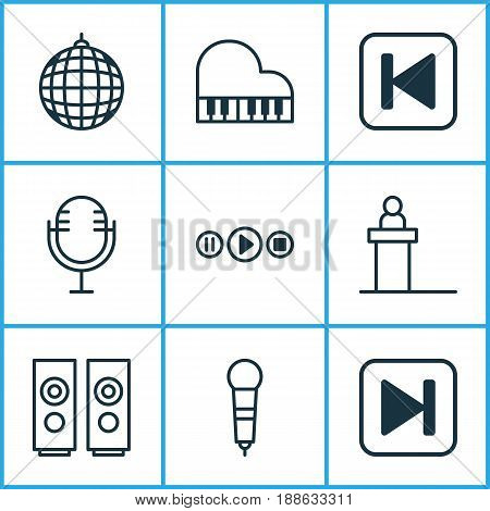 Audio Icons Set. Collection Of Song UI, Octave, Skip Song And Other Elements. Also Includes Symbols Such As Forward, Audio, Button.