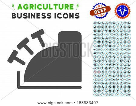 Cash Register gray icon with agriculture business glyph package. Vector illustration style is a flat iconic symbol. Agriculture icons are rounded with blue circles.